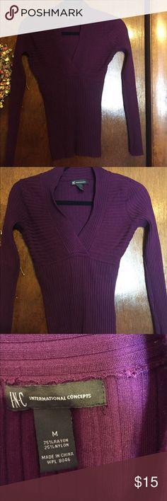 INC Sweater. Size medium. Purple. INC Sweater. Size medium. Has lots of stretch. Purple. INC International Concepts Sweaters V-Necks