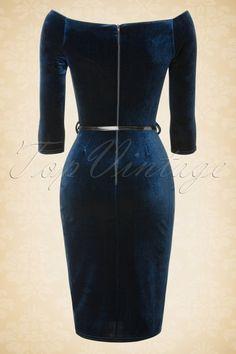 Vintage Chic  50s Velvet Chic Velvet Blue Pencil Dress  17282 20151105 0006W