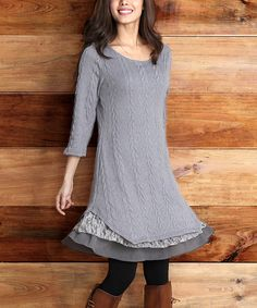 Another great find on #zulily! Reborn Collection Gray Cable-Knit Lace-Trim Dress - Women by Reborn Collection #zulilyfinds