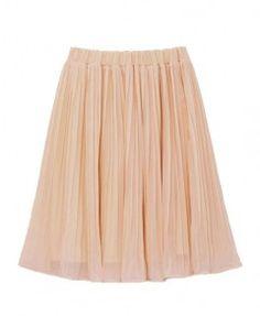 High Waist Pleat Chiffon Skirt with Elastic Waist