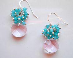Boucles d'oreilles bonbon Pierre grappe blush rose bleu sarcelle bleu mariée pendants goutte quartz rose jade argent fil cadeau Saint-Valentin pour elle