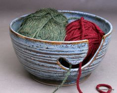 Stormy Blue Yarn Bowl, Textured, Carved, and Hand Thrown by Hurricane Pottery #yarnbowl #yarnholder