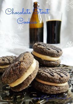 Chocolate Stout Cookies - hints of cocoa, coffee, and locally brewed stout flavour these tender & chewy cookies with a malty buttery filling.