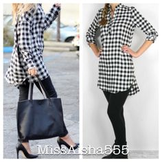 Plaid tunic dress LAST ONE SALE New just in!! Gorgeous plaid black and white hottest style tunic dress PLEASE USE Poshmark new option you can purchase and it will give you the option to pick the size you want ( all sizes are available) BUNDLE And SAVE 10% ( sizes updated daily ) Dresses