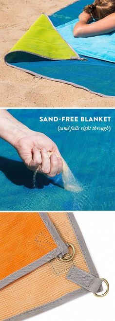 Sand Escape Blanket, Sand Proof Beach Mat - Outdoor Picnic Camping Blanket, life hack, beach hack, summer,  summer accessory,  style, light weight, vacation, sand free, sand falls through, indoor or outdoor, picnic, hiking, pool, water resistant  (aff link)