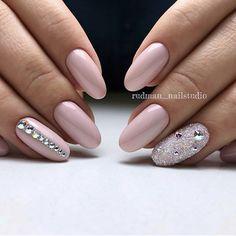 50 Top Best Wedding Nail Art Designs to Get Inspired Almond Acrylic Nails, Almond Nails, Rhinestone Nails, Bling Nails, Bridal Nails, Wedding Nails, Beauty Nail, Crystal Nails, Birthday Nails