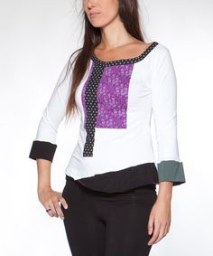 Love this White & Plum Coralina Top by Piedra y Agua on #zulily! #zulilyfinds