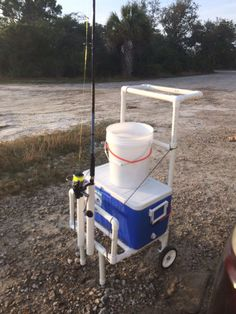 Fishing cart for 80 bucks! All pvc pipe with a few screws to anchor the whole thing together. (Maybe I can make it a seat also) Fishing Pole Storage, Fishing Pole Holder, Kayak Fishing, Fishing Tips, Fishing Boats, Saltwater Fishing, Fishing Tackle, Fishing Charters, Fishing Reels