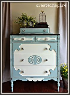 createinspire: Antique Chest of Drawers in Smokey Slate and Cream Silk