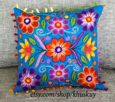 Peruvian Embroidered Pillow cushion cover Hand  flowers Sheep & alpaca wool…
