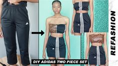 This Adidas two piece is bomb and versatile! In this episode of REFASHION, I will be transforming a pair of Adidas track pants into a two piece ski. Diy Jogger Pants, Adidas Two Piece, Diy Fashion Videos, Tracksuit Pants, Adidas Joggers, Clothing Items, Thrifting, Two Piece Skirt Set, Refashioning
