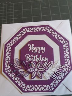 Made by me using Sue Wilson Octagon dies. 21st Birthday Quotes, 70th Birthday, Birthday Cards, Birthday Parties, Stamps By Chloe, Hexagon Cards, Hippie Birthday, Tonic Cards, Sue Wilson