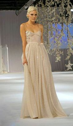 Image of Ivory Sequin Gown.