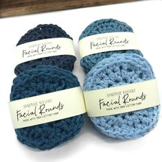 Zero-waste 100% recycled cotton Facial Rounds.   Perfect for your skin care routine while keeping it eco-friendly.   Using recycled cotton (in this case, denim - that's why they are all blue!) is a great way reduce resources & waste. ❤️  . . .  #hamont #facialtreatment #recycledmaterials #ecofriendlyproducts #veganproducts #skincareproducts #zerowasteliving #zerowaste #handmade #shopsmall #shoplocal #goinggreen #recycledcotton #burlon #ldnont #roughbarkknits  Facial Treatment, Recycled Materials, Zero Waste, Your Skin, Routine, Eco Friendly, Skin Care, Denim, Cotton