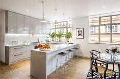 white gloss kitchen #droplights