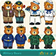 This set contains 6 of the cutest military bears.  The can be used in the classroom and for products you sell. Designs by Prints of Joy....