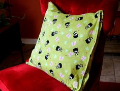 Decorative green flannel pillow 20x 20 with by PuppyPawzBoutique, $30.00