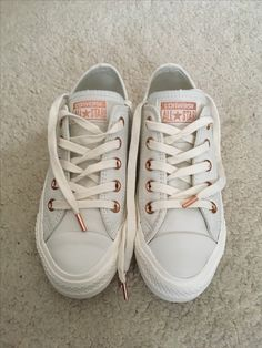 17a60751d8ea Egret (white) Leather Converse with Rose Gold details - I just bought these  and absolutely love them!