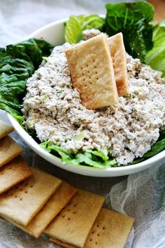 "Vegan Mock ""Tuna"" Salad Dip with Homemade Saltine Crackers from the Divine Healthy Food blog"