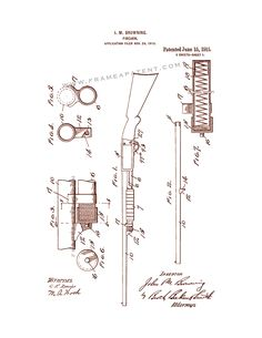 This is a Patent Print for a Remington Model 17 and Ithaca 37 pump action Shotguns. Browning and it was issued on June 1915 by the United States Patent and Trademark Office. Ithaca 37, Pump Action Shotgun, Patent Drawing, Printed Pages, Patent Prints, Firearms, Weapons, Guns, Poster Prints
