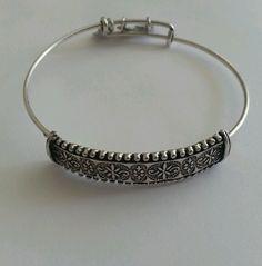 Alex and Ani Bangle Bracelet TRAPEZE Russian Silver Rare Box  #AlexandAni #Bangle
