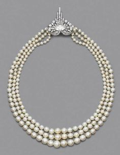 A rare Art Deco pearl and diamond necklace