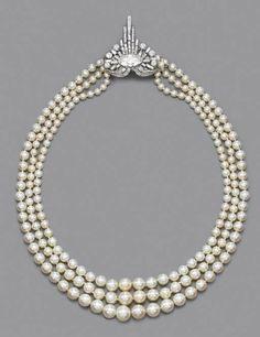 A rare Art Deco natural pearl and diamond necklace, circa 1925. Estimate £40,000 - £50,000 ($78,840 - $98,550). Price Realized £131,200 ($131,200 ).Photo Christie'