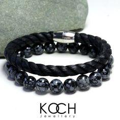 Mens Bracelet Obsidian Bracelet Men Braided by KochJewellery