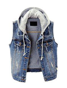 c04981be390ee  19.99 - ZLSLZ Womens Vintage Casual Slim Distressed Ripped Sleeveless  Denim Jean Vest Jacket With Hoodie