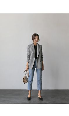 Casual Work Outfits, Winter Outfits For Work, Mode Outfits, Work Casual, Fashion Outfits, Hijab Casual, Korean Fashion Trends, Asian Fashion, Korean Fashion Work