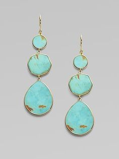 18-karat yellow gold. Round-, octagonal-, and pear-cut, variegated turquoise slice drops. Post backs.