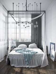 Gravity Interior : Canopy bed with lots of lightbulbs