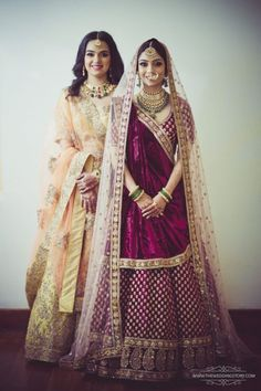 Double dupatta- One over the head and then brought over shoulders, the other draped like a Gujarati saree