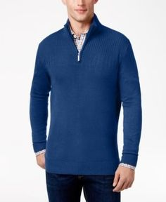 Geoffrey Beene Men's Big & Tall Quarter Zip Sweater - Blue 4XLT