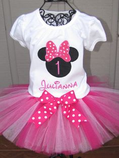 Minnie Mouse Tutu Set in Dark Pink and White.  Perfect for first birthday, birthday photos, and disney birthday themes. on Etsy, $45.00