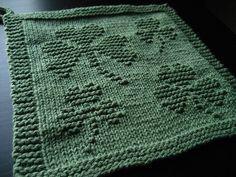 A beautiful shamrock knitted dishcloth.ng