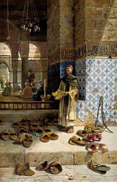 The artwork Shoes of religious Moslems in front of a mosque - Charles Robertson we deliver as art print on canvas, poster, plate or finest hand made paper. Art And Illustration, Art Arabe, Empire Ottoman, Moslem, Arabian Art, Islamic Paintings, Old Egypt, Egyptian Art, Art Design