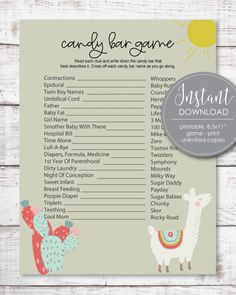 Printable Baby Shower Games Baby Shower Mad Libs, Baby Shower Candy, Baby Shower Party Supplies, Boho Baby Shower, Baby Shower Parties, Baby Showers, Free Baby Shower Printables, Baby Shower Activities, Baby Shower Games
