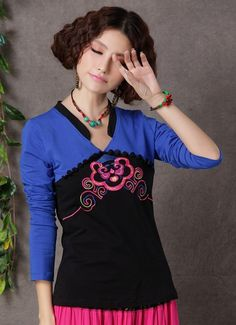 Chinese Style Embroidering Long Sleeve T-Shirt Blue-- Click on the picture to order it>>Shop price:US$12.68---#shoes #wholesale #fashion #lovely #cheap #Korean #dress #sexy #clothes#