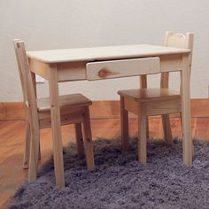 Kid's Table and Chair Set, Kids Furniture, Toddler Furniture, Unfinished Wood Furniture, Solid Back or Open Back Chairs