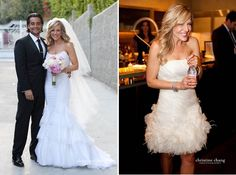 Actress Julie Benz and marketing executive Rich Orosco tied the knot on Cinco de Mayo in a beautiful Mexican-inspired wedding, a nod to the groom's heritage. Wedding Rehearsal Dress, 2nd Wedding Dresses, Celebrity Wedding Dresses, Strapless Organza, Julie Benz, Bridal Salon, Industrial Wedding, Wedding Designs, Wedding Ideas