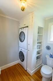 Hadn't thought of putting washer and dryer this way! Stacked Washer And Dryer Laundry Room Design Ideas, Pictures, Remodel and Decor Laundry Bathroom Combo, Bathroom Closet, Laundry Room Design, Downstairs Bathroom, Small Bathroom, Master Closet, Beige Tile Bathroom, Laundry In Kitchen, Master Bathroom