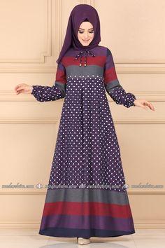 Bağcık Detaylı Tesettür Elbise 5010EF311 Mor - Moda Selvim Usain Bolt, Sneaks Up, Hijab Dress, Fashion Kids, The Dress, Curly Hair Styles, Clothes For Women, Purple, Lace