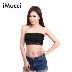 fe10a72573 iMucci 2017 Women Sexy Underwear Lace Casual Crop Boob Tube Top Bandeau  Free Solid Bra Strapless Seamless-in Tube Tops from Women s Clothing    Accessories ...