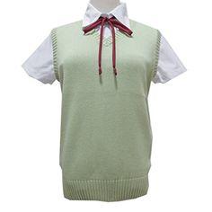 Women Sleeveless V Neck Cotton School Girls JK Uniforms Vests Knitting Tops -- You can get additional details at the image link.