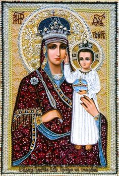 """Russian Orthodox icon of Our Lady """"Look at Humility"""" aka """"Support to the Humble"""" Religious Images, Religious Icons, Religious Art, Blessed Mother Mary, Blessed Virgin Mary, Russian Icons, Russian Art, Sainte Rita, Religion"""