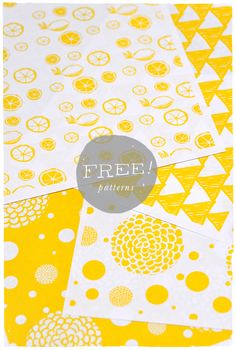 super cute downloadable yellow patterns to be used to make envelopes, gift bags, wrap, etc... Free PDF Printables