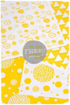 Free printable // DIY - Yellow Patterns to be used to make envelopes, gift bags, wrap, etc. Scrapbook Paper, Scrapbooking, Printable Wrapping Paper, Yellow Pattern, White Patterns, How To Make An Envelope, Paper Crafts, Diy Crafts, Pattern Paper