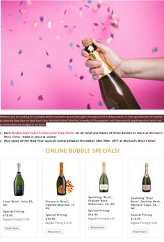 Whether you are looking for a notable bottle to present as a hostess gifts throughout the holiday season, or that special bottle of bubbles to toast the New Year on New Year's Eve, Michael's Wine Cellar has a variety of Champagnes and international sparkling wines which will accommodate any budget or occasion.