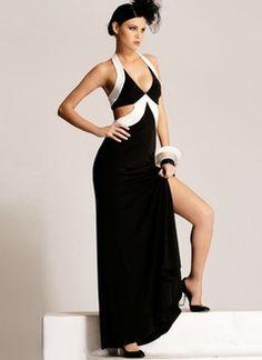 Sheath/Column Halter Floor-Length Charmeuse Prom Dress With Sash Split Front